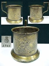 Antique Tea Glass Holder Fabr. WOLSKA pod WARSZAWA 1854 BRASS silvering WARSAW