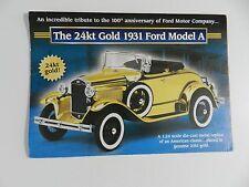 Danbury Mint 24kt Gold 1931 FORD MODEL A Brochure Pamphlet Mailer