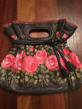 Isabella Fiore Roses Leather Clutch-handle Purse