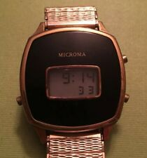 Rare Vintage Microma Digital Watch. Runs And Sets Great. Light Does Not Work.