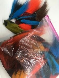 30 + Multi Color  NORTHERN BUCKTAIL TAILS PIECES Fly Tying Deer LONG Tail Hair