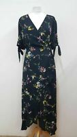 OASIS Ladies Dark Navy Short Sleeve Knot Pleated Floral Wrap Dress UK18 BNWT