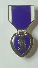 PURPLE HEART MEDAL US Military Hat Lapel Pin Double Clutch Back