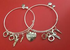 "Silver ""Partners In Crime"" Themed Charm Bracelets  (best friends, BFF's)"