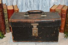 Antique Black Leather Doctor Medical Bag Case Sectioned Metal Insert Dr Label