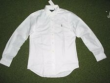 Mens $98 (S) POLO-RALPH LAUREN White STRETCH Oxford Shirt (Slim Fit)