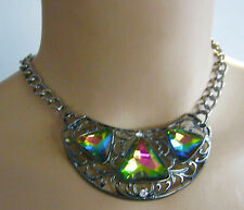 Necklace Bib Style Large Aurora Borealis Acrylic Stones Black Metal