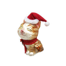 Cat w/Stocking Cap Glass Ornament