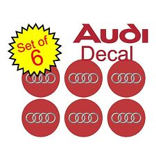 "Audi 2.75"" Red 6 pc Replacement Decal Sticker center cap hub wheel logo a4 a7 a6"
