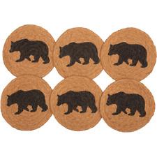 New Rustic Cabin Wyatt Black Bear Braided Jute Coasters Set 6