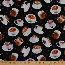 Coffee Cups Latte Art Coffee Bean Beans Drinks Cotton Fabric Print BTY D672.44