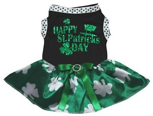 Happy St.Patrick's Day Black Cotton Top Green Clover Tutu Pet Dog Puppy Dress
