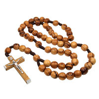 """Christian Rosary Beads Olive Wood Prayer Knot with Jesus Christ Crucifix 18.5"""""""