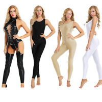 Women Bodycon Leather G-string Bodysuit Catsuit Jumpsuit Yoga Leotard Clubwear
