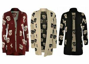 Women Halloween Skull Skeleton Cardigan Ladies Open Front Knitted  Cardigan