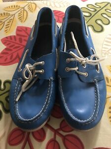 Sperry Top Sider Bright Blue Mens Leather Shoes 13