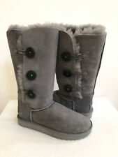 UGG BAILEY BUTTON TALL II TRIPLET GREY GRAY BOOTS US 9 / EU 40 / UK 7 - NEW