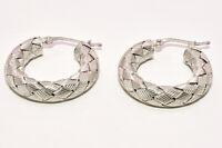 "Roberto Coin 1"" Woven Hoop Earrings in 18K White Gold"