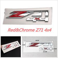 Red & Chrome Z71 4x4 Emblem Badge Sticker  ABS For Chevrolet Silverado 1500 2500