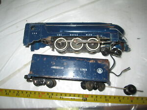 S scale American Flyer 350 Royal Blue engine and tender.