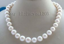"18"" Genuine Natural 12-14mm White Perfect Round Pearl Necklace zircon #f2626!"