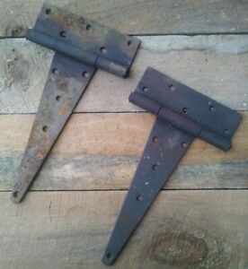 2 LARGE  Vintage Barn Door Gate T-Strap Hinges Architectural Salvage Cast Iron