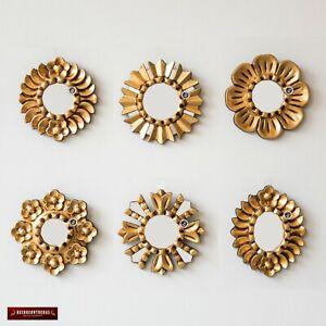 "Small Sunburst Mirror set 6 ""Gold Sun"", Handmade Round mirror Wall 6in from Peru"