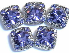 5 - 2 HOLE SLIDER OR SPACER BEADS 8mm & 2mm TANZANITE PURPLE AUSTRIAN CRYSTALS