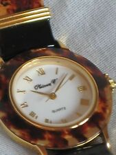 LADIES TORTOISE & GOLD TONE*MULTI-COLOR PATENT LEATHER BAND WATCH*ROMAN NUMERALS