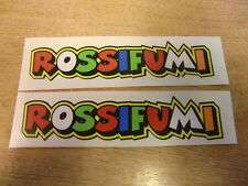 "Valentino Rossi style text - ""ROSSIFUMI""  x2 stickers / decals  - 5in x 1in"
