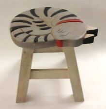 NEW WOODEN HAND CARVED PAINTED FOOTSTOOL FOOT STOOL - GRAY TABBY KITTY CAT