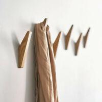 4 pcs Solid Wooden Wall Mounted Hook Peg Coat Hanger Pegs Rack Triangle Hooks