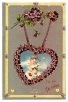 Antique colour printed postcard greetings card To My Valentine cherub heart