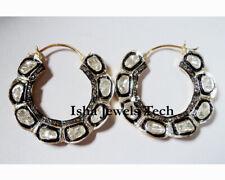 Pave Diamond Earrings Victorian Jewelry Sterling Silver Natural Diamond Polki &