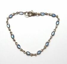 Vintage 925 Sterling Silver OVAL BLUE CZ SET THIN FINE TENNIS BRACELET 3g 7.5""