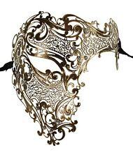 KAYSO Half Face Skull Vintage Gold Laser Cut Venetian Masquerade Mask Costume