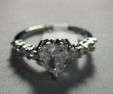 Ring Heart Shape Solitaire Cubic Zirconia with Accent Engagement Size 8 NWT T120