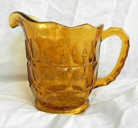 Art Deco Heavy Amber Pressed Glass Water Jug - Stunning Piece c 1930s