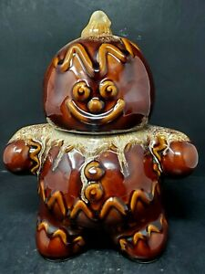 Vintage Hull Pottery Gingerbread Man Cookie Jar with Brown Drip Glaze EUC