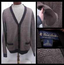 Brooks Brothers Brown Glen Plaid Cardigan Sweater Elbow Patches Lambswool XL
