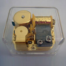WE WISH YOU A MERRY CHRISTMAS Acrylic Hand Crank Gurdy Gold Movement Music Box
