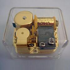 HUSH, LITTLE BABY Acrylic Hand Crank Gurdy Gold Movement Music Box