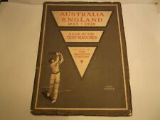 Rare Cricket Australia V England 1877-1926 Book Test Matches Manchester Guardian