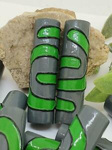 Vintage 80's Wood Painted Bright Green & Gray Large 55mm Tube Beads Arts Crafts