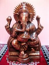 "BEST 12"" GANESH GANESHA STATUE HANDMADE HOME DECOR ART METAL COPPER PLATED IDOL"