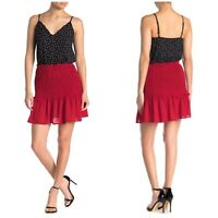 NWT Good Luck Gem Smocked Waist Mini Skirt Red Women's Size Large New