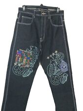 Risk Jeans Co 34x32 Dark Wash Studded Jeans Peace True Soldier NEW Wild Unique