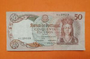 50 ESCUDOS BANKNOTE PORTUGAL 1964 SANTA ISABEL