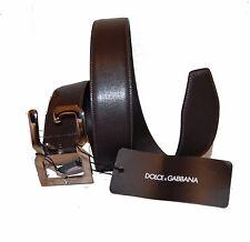 Dolce & Gabbana Dark Brown Metal Buckle Genuine Cow Leather Men's Belt Sz L NEW