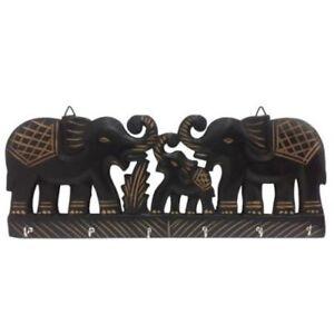 Wooden Wall Hang Key Hanger wid hook trunks up carved Elephant shape wall decor